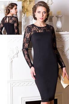 Черное платье с кружевными рукавами VIAGGIO