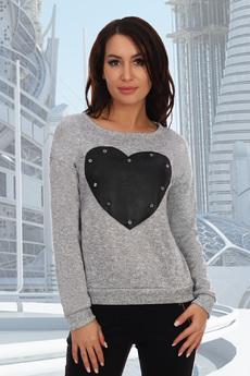 Серый джемпер с сердцем Натали