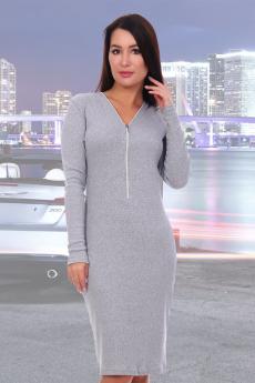 Новинка: платье серого цвета с молнией Натали